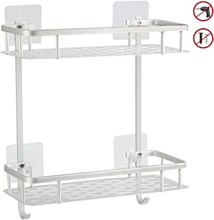 Hawsam No Drilling Bathroom Shelves, Aluminum 2 Tier Shower Shelf Caddy Adhesive Storage Basket for Shampoo