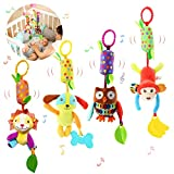 Bloobloomax Baby Soft Hanging Rattle Crinkle Squeaky Dangling Toy Car Seat Stroller Toys with Plush Animal C-Clip Ring for Infant Babies Boys and Girls 3 6 9 to 12 Months (4 Pcs)