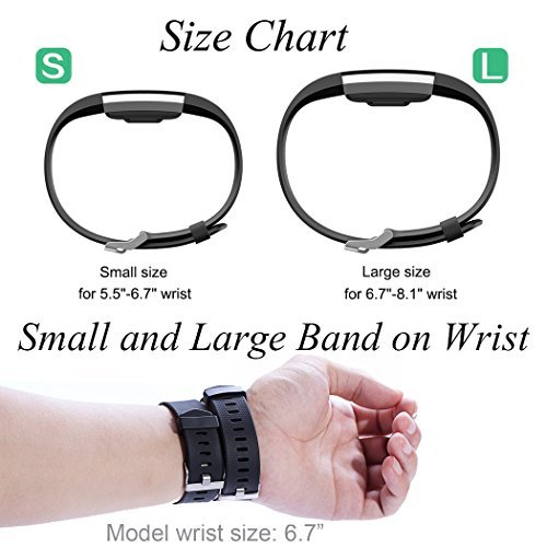 GEAK Bands for Fitbit Charge 2, Adjustable Sports Wrist Bands for Fitbit Charge 2, Large Classic Black