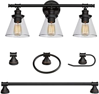 Globe Electric 50192 Parker 5-Piece All-in-One Bathroom Set, Oil Rubbed Bronze, 3-Light Vanity Light with Clear Glass Shades, Towel Bar, Towel Ring, Robe Hook, Toilet Paper Holder