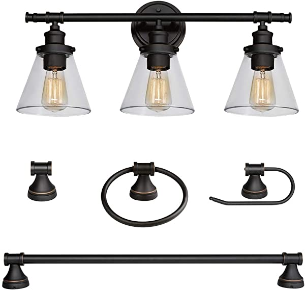Globe Electric 50192 Parker 5 Piece All In One Bathroom Set Oil Rubbed Bronze 3 Light Vanity Light With Clear Glass Shades Towel Bar Towel Ring Robe Hook Toilet Paper Holder