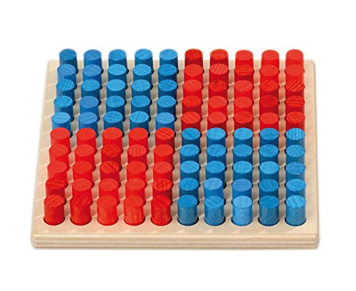 Betzold 87763 - Hunderter-Steckbrett klein - Zahlenraum 100 Mathe Rechnen Lernen Kinder