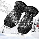 MATCC Grattoir à Glace Anti Givre Voiture avec Gant Doublure chauffante et Imperméable Raclette Pare Brise Grattoir à Neige Elastique Enserré 2 PCS