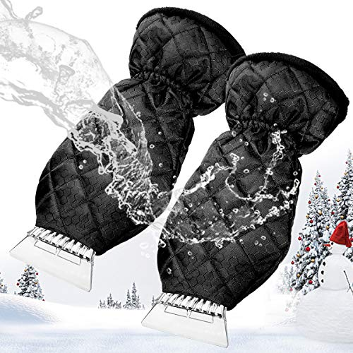 2PCS Eiskratzer Mit Handschuh MATCC Auto Eiskratzerhandschuh Mit Velours Gefüttert Nie Eingefrorene Winter Kratzer Eiskratzer Handschuh Für Windschutzscheibe Fenster Schneeschaufel Eisschaber 38*19cm