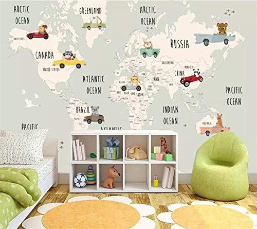 LIGAHUI Kinderzimmer Tapete Cartoon Tierkarte 3D Wandbild Tapete Poster Living Room Bar Fernseher Sofa Wand Schlafzimmer Wandbild 200 x 140 cm