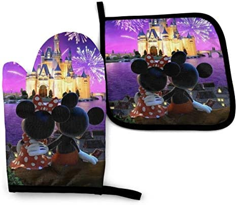 ZLCMMF Oven Mitts and Pot Holders Minnie and Mickey Mouse Heat Resistant Kitchen Cooking Oven product image
