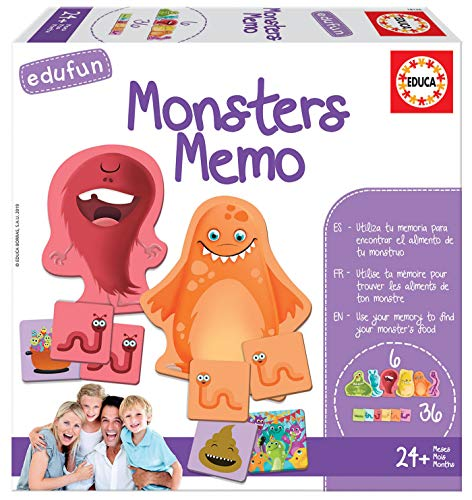 Educa - Edufun Monsters Memo Juego de Mesa para niños: Alimenta a tu monstruito con Sus bichos, a Partir de 24 Meses (18126)