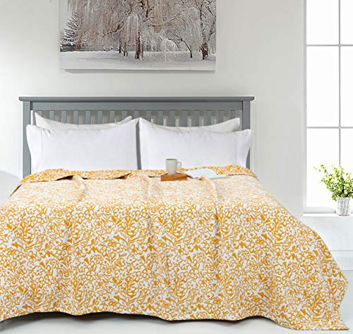 Mustard Yellow Matelassé Floral Throw Blanket - King (90 x 108 inches)