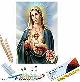 Beaxqb {Marco de Bricolaje} DIY Pintar por Numeros Cultura Religiosa Pintura al óleo Kit con Pinceles y Pinturas Lienzo Regalo de Pintura para 40x50cm