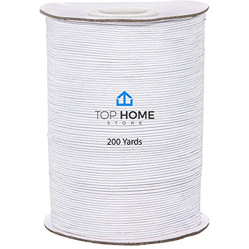 Top Home Store Elastic Thread 1mm - 200 Yards Elastic String Roll for Sewing, Jewelry, Bracelet Making - Stretchy Polyester and Latex Bead String - Easy to Cut Beading Cord for Craft Projects – White