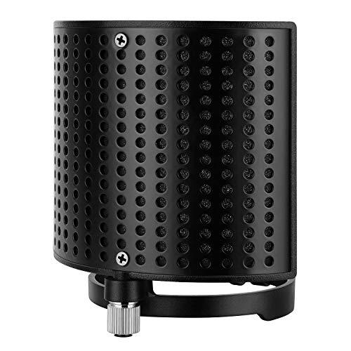 Mikrofon Popschutz, Moukey Mic Pop Filter MPFUBK, Metallpaneel Metallgitter und Advanced Filter Schaumschicht Mikrofon Windschutzscheibe Maske Schild für Sprachaufnahmen, Youtube-Videos, Streaming
