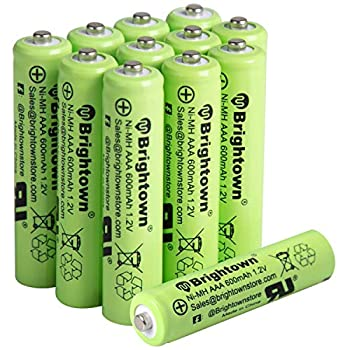NiMH Rechargeable AAA Battery Pack of 12 600mAh 1.2V Pre Charged Triple A Solar Battery for Solar Lights Remote Control Electric Toys UL Certified  AAA-600mAh-12pack