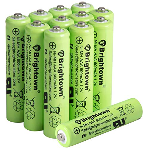 NiMH Rechargeable AAA Battery Pack of 12, 600mAh 1.2v Pre Charged Triple A Solar Battery for Solar Lights, Remote Controller, Electric Toys, UL Certified