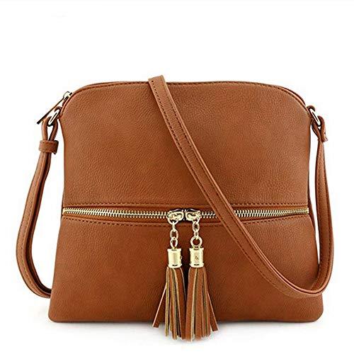 Kbinter Lightweight Medium Crossbody Bag with Tassel and Zipper Pocket