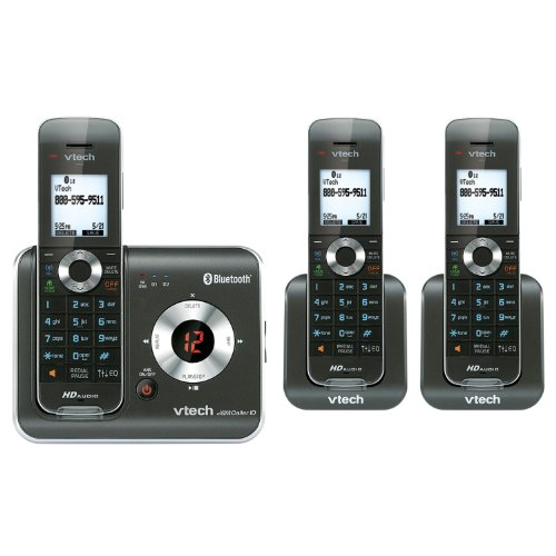 VTech DS6421-3 3-Handset DECT 6.0 Cordless Phone with Bluetooth Connect to Cell, Digital Answering System and Caller ID, Expandable up to 12 Handsets, Black