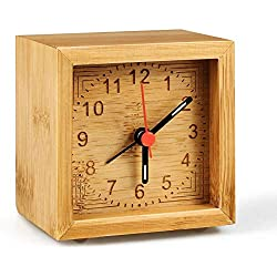 Winkeyes Alarm Clock Battery Operated, Bamboo Wooden Bedroom Clock Handmade Classic Home Alarm Clock Desk Table Wood Clock with Luminous Night Pointer Silent Non Ticking for Bedroom Kitchen Office