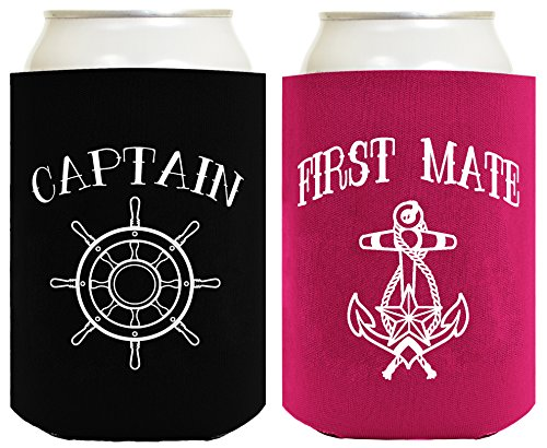Sailing Gifts Captain First Mate Bundle Nautical Gifts 2 Pack Can Coolie Drink Coolers Coolies Black Magenta