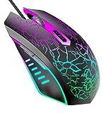 VersionTECH. Mouse da Gaming con Fili, sensore Ottico Fino a 2400 DPI, 6 Tasti e Illuminazione a LED con 7 Colori