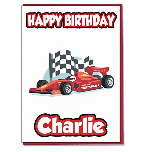 AK Giftshop Gepersonaliseerde Formule 1 Racing Auto Verjaardagskaart - Elke Naam Leeftijd Relatief