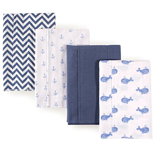 Hudson Baby Unisex Baby Cotton Flannel Burp Cloths, Whale, One Size
