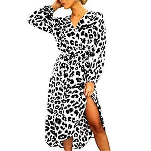 Abito da sera in vita con scollo a V a maniche lunghe, con stampa leopardo, a vita alta, con lacci irregolari bianco L