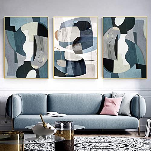 Pinturas en lienzo Póster de mármol azul abstracto Arte de la pared Carteles e impresiones de Europa vintage para la decoración de la sala de estar 23.6 'x31.4' (60x80cm) 3 piezas Sin marco