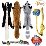 Peteast-3 Squeaky Toys and 3 Rope Dog Toys, No Stuffing Squeaky Plush Fox Raccoon Squirrel, Puppy Chew Teething Rope Toys Set for S/M/L Dogs Pets Animals