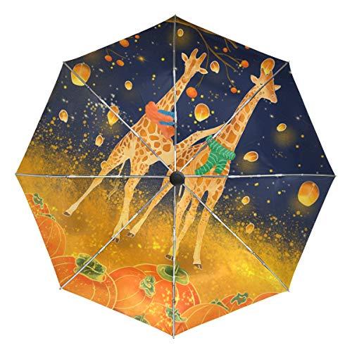 Orange Giraffe Kürbis Laterne Kompakt Reise Regenschirm Outdoor Regen Sonne Auto faltbar Reversible Regenschirme für Winddicht Verstärktes Vordach UV-Schutz Ergonomischer Griff Auto Öffnen Schließen