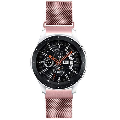 20mm Correa de Reloj de Malla Acero Inoxidable para Samsung Galaxy Watch 42mm/Active2 44mm 40mm /Gear Sport/Gear S2 Classic/Garmin Vivoactive 3, Correa Metal Deporte Bandas Repuesto (20mm, Oro Rosado)