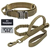 Tactical Dog Collar with Double Handle Bungee Leash, Adjustable Military Heavy Duty Nylon Dog Training Collar Leash Set with Control Handle and Metal Buckle for Medium Large Dogs