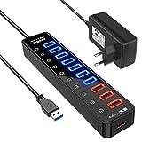 Atolla Hub USB 3.0 Multiprise 11 Ports, USB 7-Ports Transfert de données 5Gbps + 4-Ports Charge Intelligente avec des commutateurs et des LEDs d'alimentation individuels et Adaptateur 12V/4A
