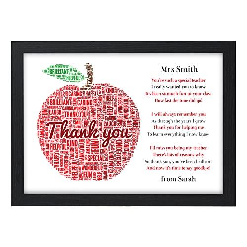 Thank You Teacher Gifts APPLE Personalised Poem Best Teacher Leaving...