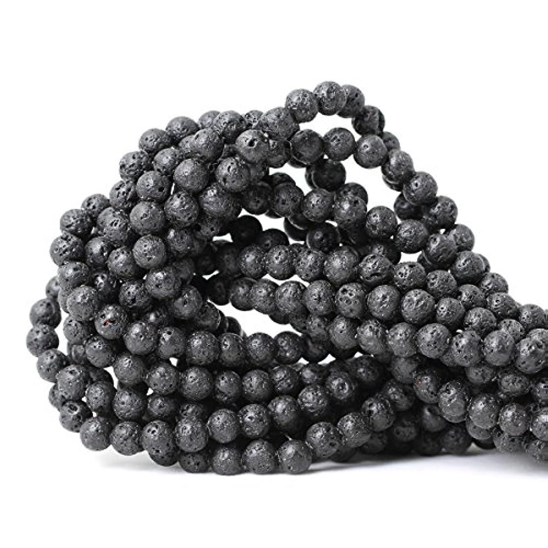 CHEAVIAN 6mm 60PCS Black Lava Volcanic Stone Gemstone Round Loose beads For Jewelry Making 1 Strand 15
