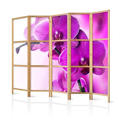 murando - Biombo XXL Flores Orquidea Violeta 225x171 cm 5 Paneles Lienzo de Tejido no Tejido sintética Separador Madera Design Moda Hecho a Mano Deco Home Office Japón b-B-0400-z-c