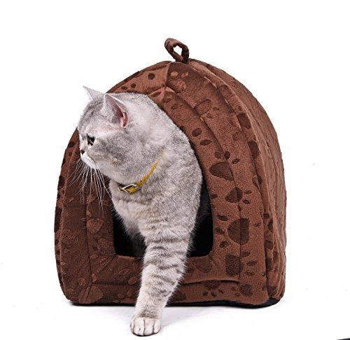 OHANA Maison Niche pour Chien Chat avec Coussin Amovible, Dôme Chat Pliable et Confortable 40 * 32...