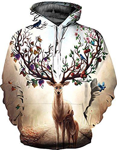 Ovender® Hombre Unisex 3D Impreso Swearshirt Arte Suéter Cuello Redondo Sudadera con Capucha Impresa de Mangas Largas con Varios Estilos Imprimió Hoodie Novedad Bolsillo Grande