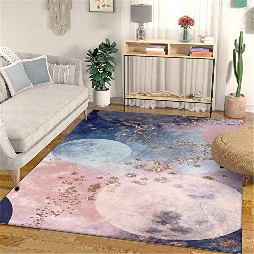 WQ-BBB Super Lujoso minimalismo La Alfombrae Decoración Abstracta romántica alfombras Pasillo Rosa Gris Azul marrón Lavable para Salón La Alfombrers 150X200cm