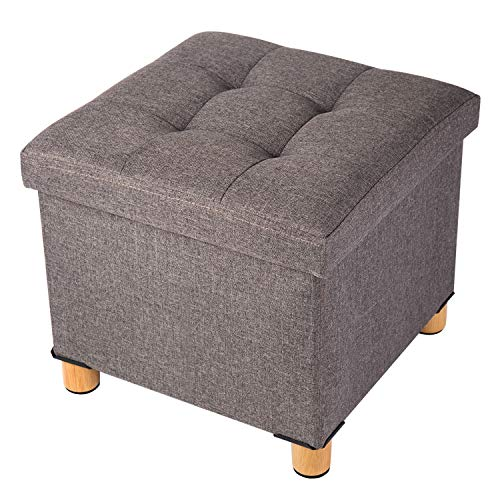BRIAN & DANY Sitztruhe Sitzhocker Fußhocker mit Stauraum und Deckel mit Holzfüßen, 38 x 38 x 40 cm, Braun