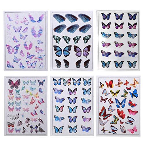 Yushu 6 piezas de relleno de resina de ala de mariposa Cicada Vivid Wing colgante de resina de relleno de moldes de película pegatinas para moldes