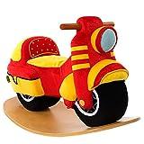 labebe Baby Rocking Horse - Red Motorcycle Baby Plush Rocker Toys, Plush Wooden Riding Horse for 1-3 Years Boy&Girl, Toddler Outdoor&Indooor Toy Rocker, Plush Animal Rocker, Infant Gift