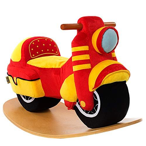 labebe Baby Rocking Horse - Red Motorcycle Baby Plush Rocker Toys, Plush Wooden Riding Horse for 18 Months Boy&Girl, Toddler Outdoor&Indooor Toy Rocker, Plush Animal Rocker, Infant Gift