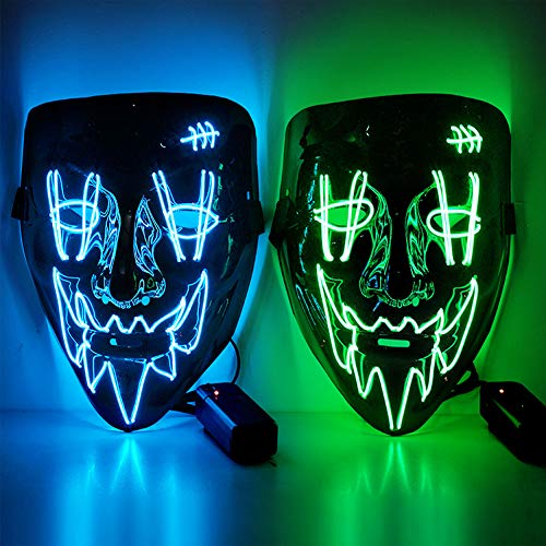 ThinkMax Halloween LED Purge Maske mit 3 Blitzmodi für Halloween Deko, Halloween Kostüm, Festival Cosplay (Blau + grün)