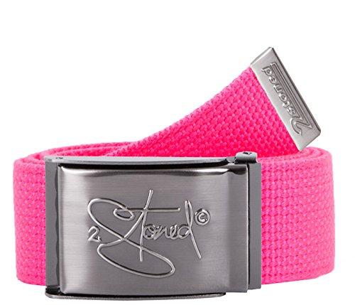 2Stoned Tresor-Gürtel Geldgürtel Neon-Pink 4 cm breit, matte Schnalle Geprägt, Gürtel für Damen