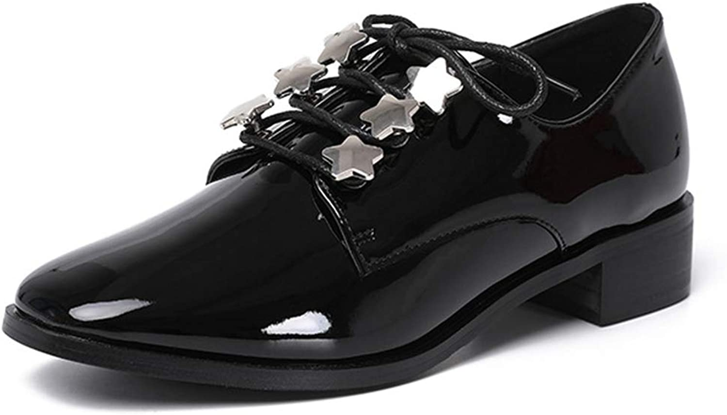 CYBLING Women's Patent Leather Oxfords Flats Star Design Low Heel Lace Up Dress shoes