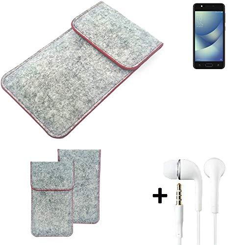 K-S-Trade® Handy Schutz Hülle Für Asus ZenFone 4 Max 5.2 Zoll Schutzhülle Handyhülle Filztasche Pouch Tasche Hülle Sleeve Filzhülle Hellgrau Roter Rand + Kopfhörer