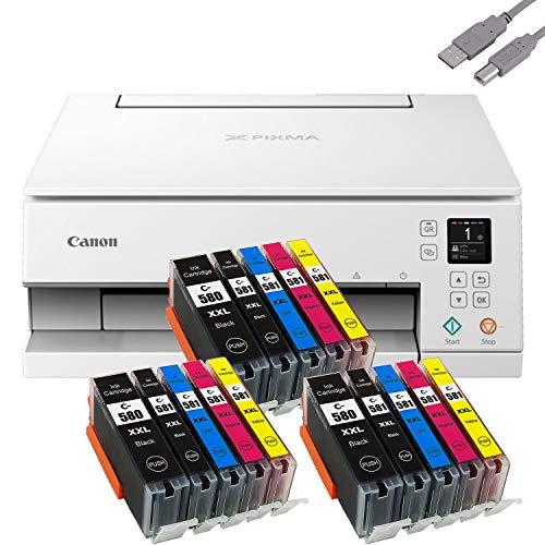 Bundle Canon PIXMA TS6351 Tintenstrahldrucker Multifunktionsgerät (Drucker, Scanner, Kopierer) mit 15 komp. Youprint® Tintenpatronen für PGI-580/CLI-581 XXL +USB-Kabel