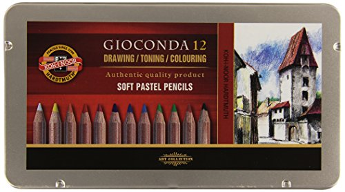 Koh-I-Noor GIOCONDA 8827 - Zeichenset Pastellstifte/Pastellkreiden in Metallbox, 12er Set