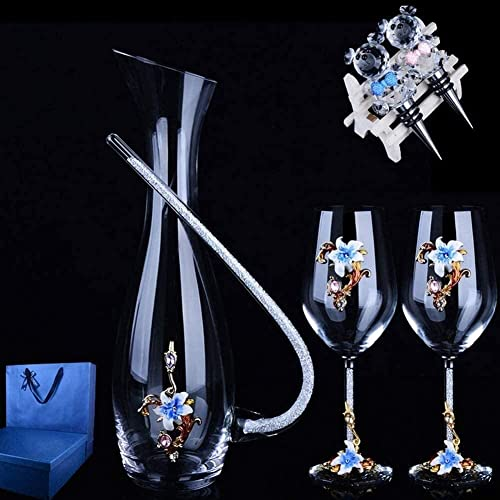 llxyzrzbhd Licorera Whisky Decantador De Vino Vaso de Cristal soplado a Mano sin Plomo con 2 Copas de Vino Tinto Jarra de Vino Tinto con 2 corchos Aireador de Vino 1015(Color:Blue D)