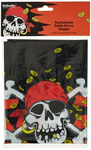 Amscan 551939 tafelkleed, gelamineerd, piraat, 120 x 180 cm, rood/zwart