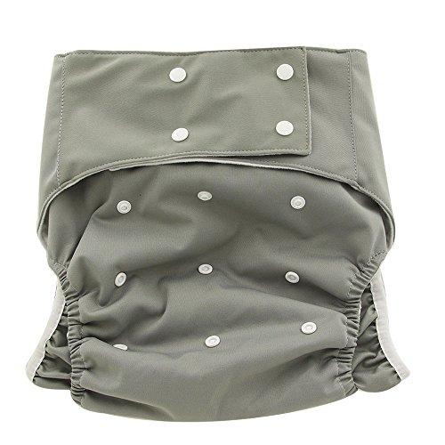Ohbabyka Adult Reusable Waterproof Bamboo Cloth Diapers Nappies+ 1pc Insert (Grey)